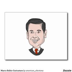 Marco Rubio Caricature Postcard.Caricature illustration showing Marco Rubio, an American senator, politician and Republican 2016 presidential candidate standing pointing up front done in cartoon style. #Rubio2016 #republican #americanelections #elections #vote2016 #election2016