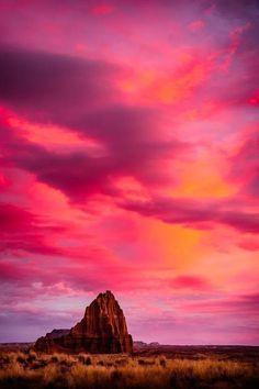 Red sunset, Capitol Reef National Park, Utah