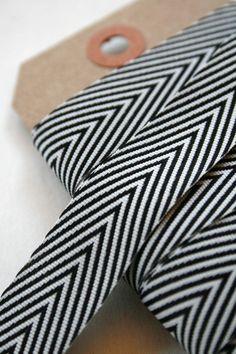 Chevron Twill Herringbone Ribbon - Black and White 3/4 Inch Width. Etsy $4.45
