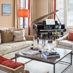 Baby Grand Piano Living Room Design Ideas, Pictures, Remodel and Decor