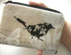 Bird on Ecru Little Zipper pouch Eco Friendly Padded NEW  by JPATPURSES, $8.00