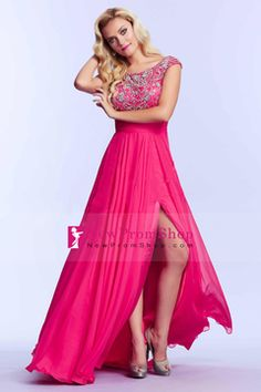2015 Prom gown Scoop A-Line brush train with beads tulle&chiffon