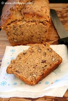 "Vegan Banana Pecan Bread Recipe | No refined sugar banana walnut bread recipe. Swap pecans with walnuts, add 1/2 tsp allspice, 1/2 tsp nutmeg, and mix 2 Tbsp flax meal with 3 Tbsp water (set flax ""egg"" aside), then cut down the water to 1/4 c. I used coconut oil instead of veg oil."