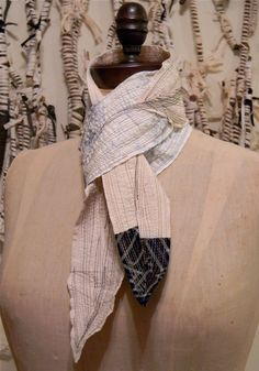 Pale Patchwork Stitched Scarf by Chicago Artist Danny Mansmith