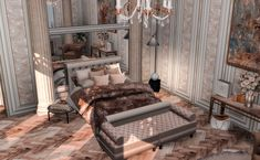 Sims 4 Cc Furniture, Bed Furniture, Luxury Furniture, Muebles Sims 4 Cc, Sims 4 Bedroom, Sims 4 House Design, Sims 4 Gameplay, Sims Building, Sims 4 Mods Clothes