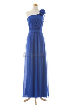 One Shoulder Empire Waist Chiffon Long Royal Blue Bridesmaid Dress in Blue Chiffon BDS-CA063 - BridesmaidCA.com