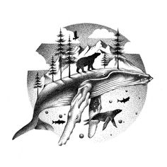 Arctic Wonders Eagle Bear Whale Seal and Fish. By Thiago Bianchini. Dotted Drawings, Abstract Drawings, Animal Drawings, Art Drawings, Stylo Art, Whale Drawing, Whale Tattoos, Orca Tattoo, Stippling Art
