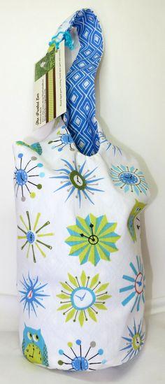 "Japanese Knot Wristlet Knitting/Crochet Bag, 100% Organic Cotton, ""Timely Crafty Owls"""