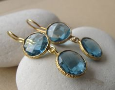 London Blue Topaz Earring by Belesas #belesas