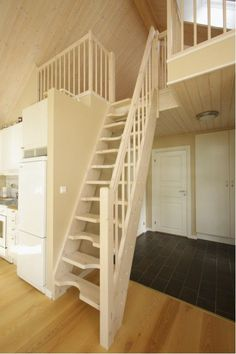 Stairs that lift up on a pulley system the counter - Staircase design for small spaces pict ...