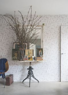 Farrow-and-Ball-New-Wallpaper-Enigma-Remodelista-4 iNDUSTRIAL TABLE