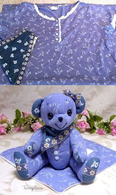 TammyBears Provides Keepsake Memory Teddy Bears Hand Made from Loved Ones Clothing. Hold your cherished memories close with a custom made memory bear. Teddy Bear Patterns Free, Teddy Bear Sewing Pattern, Animal Sewing Patterns, Stuffed Animal Patterns, Doll Patterns, Memory Pillows, Memory Quilts, Fabric Dolls, Rag Dolls