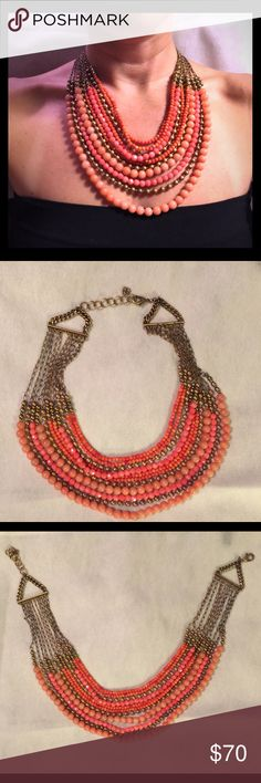 Stella & Dot Coral Beaded Statement Necklace Stella & Dot Coral Beaded Statement Necklace - beautiful and fun piece worn two times. Stella & Dot Jewelry Necklaces