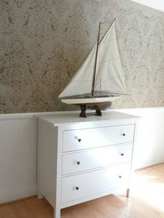 Painted in Similar Tones and Finishes Stencils make for Elegant Decor – Royal Design Studio Stencils Damask Wall Stencils, Stencil Decor, Wall Stencil Patterns, Stencil Painting On Walls, Stenciling, Damask Wallpaper, Wall Wallpaper, Retro Wallpaper, Neutral Walls