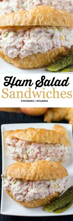 Ham Salad Sandwich by Noshing With The Nolands easy to make and. Ham Salad Sandwich by Noshing With The Nolands easy to make and so enjoyed by family and friends for a quick lunch picnic or run out the door dinner! Sandwich Bar, Salat Sandwich, Roast Beef Sandwich, Soup And Sandwich, Ham Salad Recipes, Ham Sandwich Recipes, Picnic Recipes, Ideas Sándwich, Great Recipes