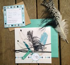 Fun with a tribal style boho feather design for Lilykiss wedding invitations. Shipping internationally - for the bohemian bride