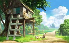 anime landscape,tree house,cats,clouds,scenic