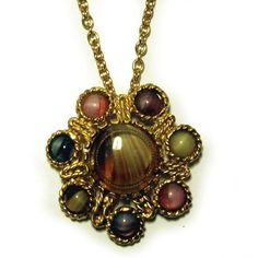 Vintage 1950s Pendant Gold Rope Flower Coloured Glass Art Stones Large Floral