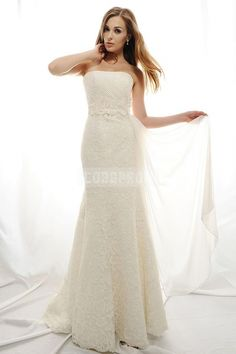 A-line Sleeveless Lace Luxurious Draping Wedding Dress