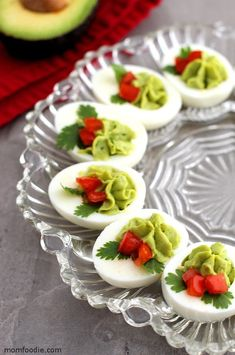 If you are looking for festive holiday appetizers, try these Christmas Deviled eggs. The deviled egg filling is made with healthy avocado rather than mayonnaise too! A perfect easy keto appetizer for the holidays. Each