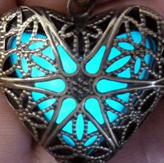 Steampunk  necklace locket Victorian gothic lolita pendant charm GLOW in the dark jewelry with Fairy Angel magical mystical dust -Aqua-brn