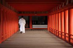 Dans le temple d'Itsukushima à Miyajima