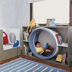 Fun idea that can be dressed up as a space worm hole or a rabbit hole, centre of. Fun idea that can be dressed up as a space worm hole or a rabbit hole, centre of a flower, any number of ideas to bring a reading nook into playroom.