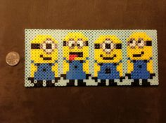 Minions perler beads design Made it for a friend Perler Bead Templates, Diy Perler Beads, Perler Bead Art, Pearler Beads, Fuse Beads, Melty Bead Patterns, Hama Beads Patterns, Minions, Cross Stitch Patterns