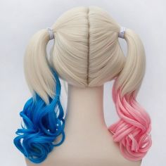 Harley Quinn Cosplay Wig, Suicide Squad Curly Gradient Hair Wigs (€22) ❤ liked on Polyvore featuring beauty products, haircare, hair styling tools and curly hair care