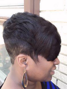 Natural short cut stylist Marketia at Le'Loft LLC hair salon