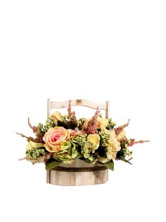 Creative Displays Pink & Yellow Rose with Hydrangea in Wooden Basket at MYHABIT