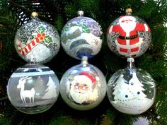 Palline natalizie trasparenti in vetro soffiato decorato a mano, decori assortiti: 6 palline