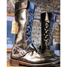 Goldtop Trophy Boots - Tall Quilted 1970s Police & Cavalry Style Motorcycle Boots with AERO zip - Made in England - The Bike Shed Photo