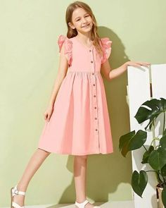 To find out about the Girls Ruffle Trim Button Front Dress at SHEIN, part of our latest Girls Dresses ready to shop online today! Frocks For Girls, Little Girl Dresses, Girls Dresses, Girls Fashion Clothes, Kids Fashion, Fashion Dresses, Kids Frocks Design, Frock Design, Button Front Dress