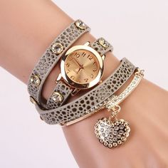 Heart Pendant Watch Rhinestone Quartz Bracelets WristWatch