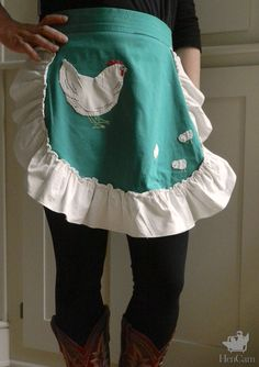 Adorable chicken motif (out of scraps??) on vintage apron