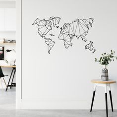 Minimalist Home Deco Removable Wall Decals, Wall Decal Sticker, Wall Stickers, World Map Wall Decal, Wand Tattoo, Minimalist Home, Scandinavian Style, Decorating Your Home, Boutique