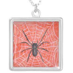 Orange/Spider Halloween Necklace