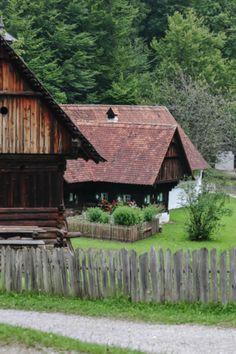 Historic alpine village, old farmhouse, Alps, Austria