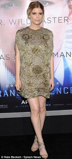 Super chic: Kate Mara's crisp style has her attracting many designers, pictured at the Transcendence LA premiere and London premiere in April