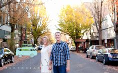 Murray Photography Oregon wedding photography. Willamette Valley. Engagement photos session pose idea. Downtown McMinnville. Fall trees.