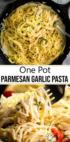 This easy Parmesan Garlic Pasta recipe is made it just ONE POT and has the creamiest sauce This takes LESS time than a 30 minute meal Parmesan Garlic Sauce Pasta Easy Dinner spaghetti meatless meals creamsauce Meatless Pasta Recipes, Tasty Vegetarian Recipes, Easy Pasta Recipes, Easy Appetizer Recipes, Easy Dinner Recipes, Cooking Recipes, Meatless Chicken, Angle Hair Pasta Recipes, Easy Pasta Dinners
