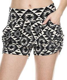 Look at this #zulilyfind! Black & White Geometric Pocket Shorts - Women #zulilyfinds