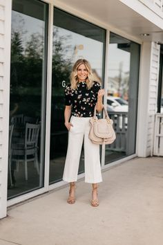 One Small Blonde is featuring a Floral Mock Neck Top and The Wide Leg Marina Pant from Ann Taylor Fall Fashion Outfits, Modest Fashion, Chic Outfits, Spring Outfits, Fashion Tips, Office Fashion Women, Work Fashion, Stylish Office Wear, Parisian Chic Style