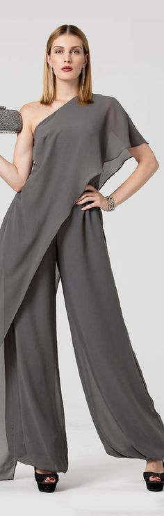 Jumpsuit One Shoulder Floor Length Chiffon Formal Evening Dress with Pleats