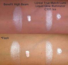 "Highlight Makeup Dupe: Benefit Cosmetics ""High Beam"" vs L'oreal True Match Lumi Liquid Glow Illuminator ""C301 Ice"""