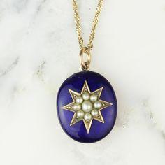 Victorian Seed Pearl Star Blue Enamel Guilloche 10k Locket