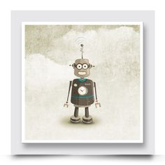 TIN ROBOT wall art which comes printed on stretched canvas or box framed, can live on its own, however really compliments the other designs in the Vintage Toys Collection. Personalise and order your art print from http://www.madicleo.com/collections/wall-art-for-boys-rooms