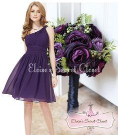 BROOKE Purple One Shoulder Chiffon Knee Length Bridesmaid Dress www.eloises-secret-closet.co.uk