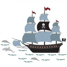 Sticker enfant bateau pirate - Art for kids
